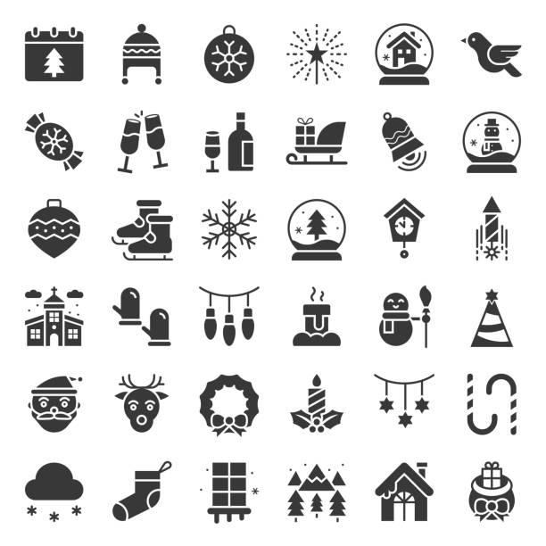 Icono de Navidad feliz glifo escenografía - ilustración de arte vectorial