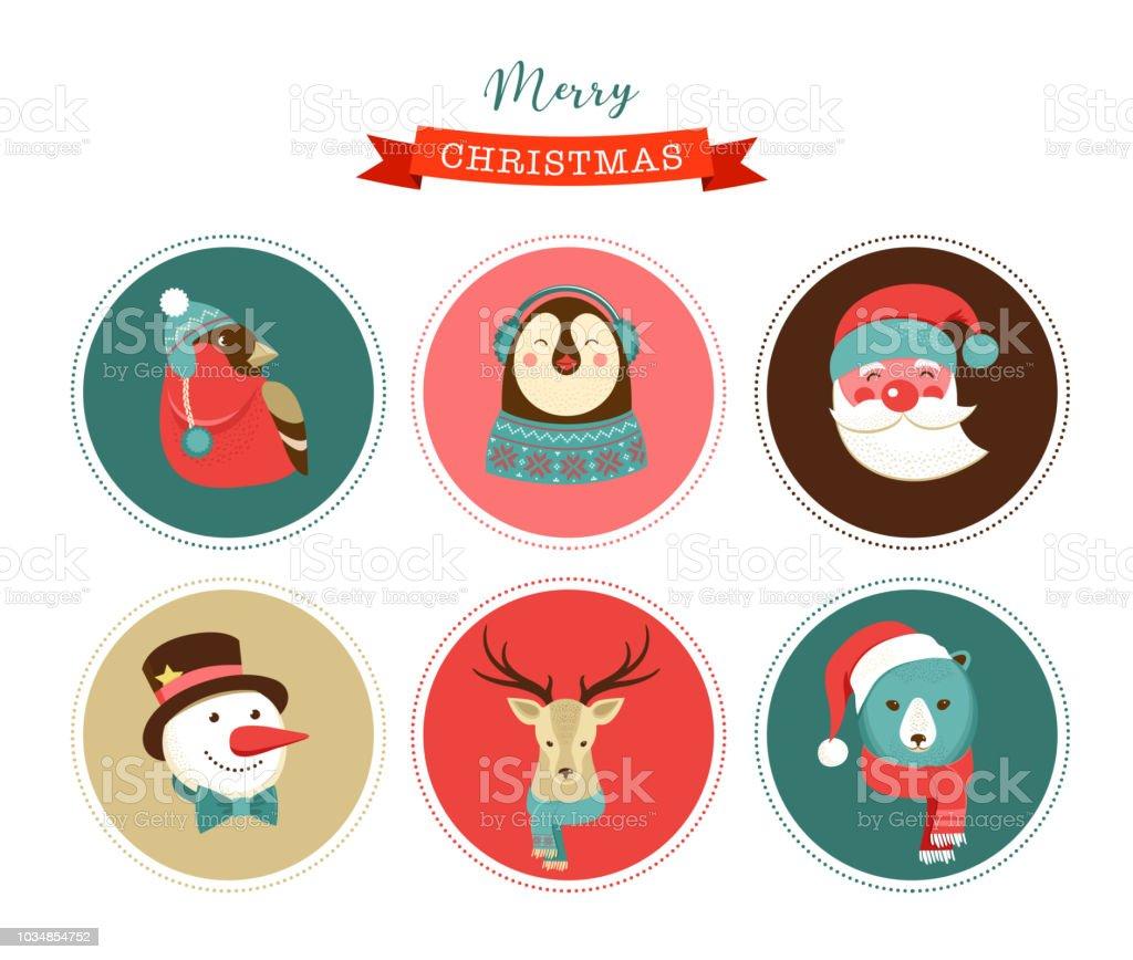 Etiketten Frohe Weihnachten.Frohe Weihnachten Symbole Retrostyleelemente Und Illustration Tags