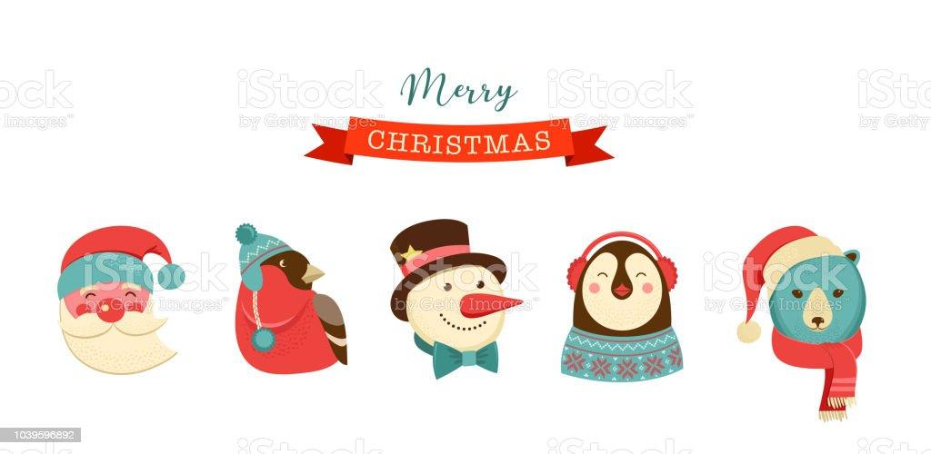 Frohe Weihnachten Etiketten.Frohe Weihnachten Symbole Retrostyleelemente Und Illustration Tags