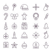 Merry Christmas icons set. New Year. Vector illustration, signs for celebration xmas party. Outline symbol collection.
