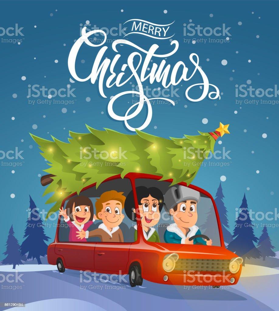 Frohe Weihnachten Familie.Frohe Weihnachtenillustration Urlaub Mit Der Familie Auf Auto Stock