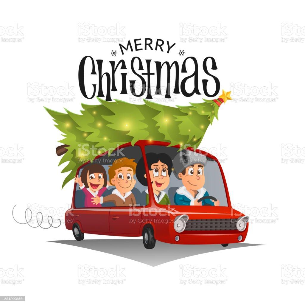 Feliz Navidad Ilustración Unas Vacaciones En Familia En El Coche ...