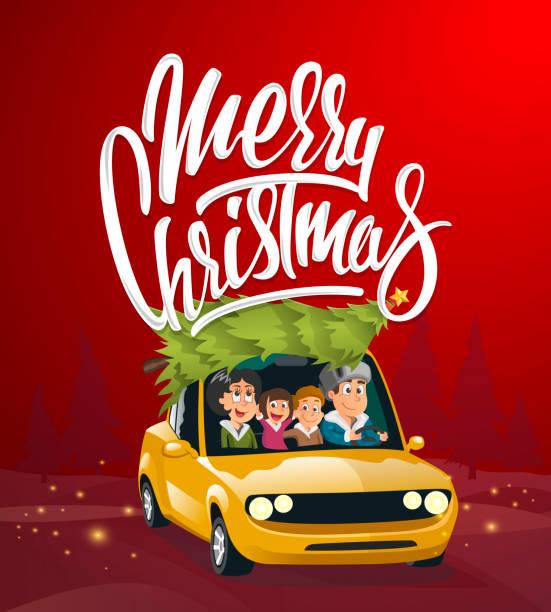 ilustrações de stock, clip art, desenhos animados e ícones de merry christmas illustration, family holidays on car - family christmas