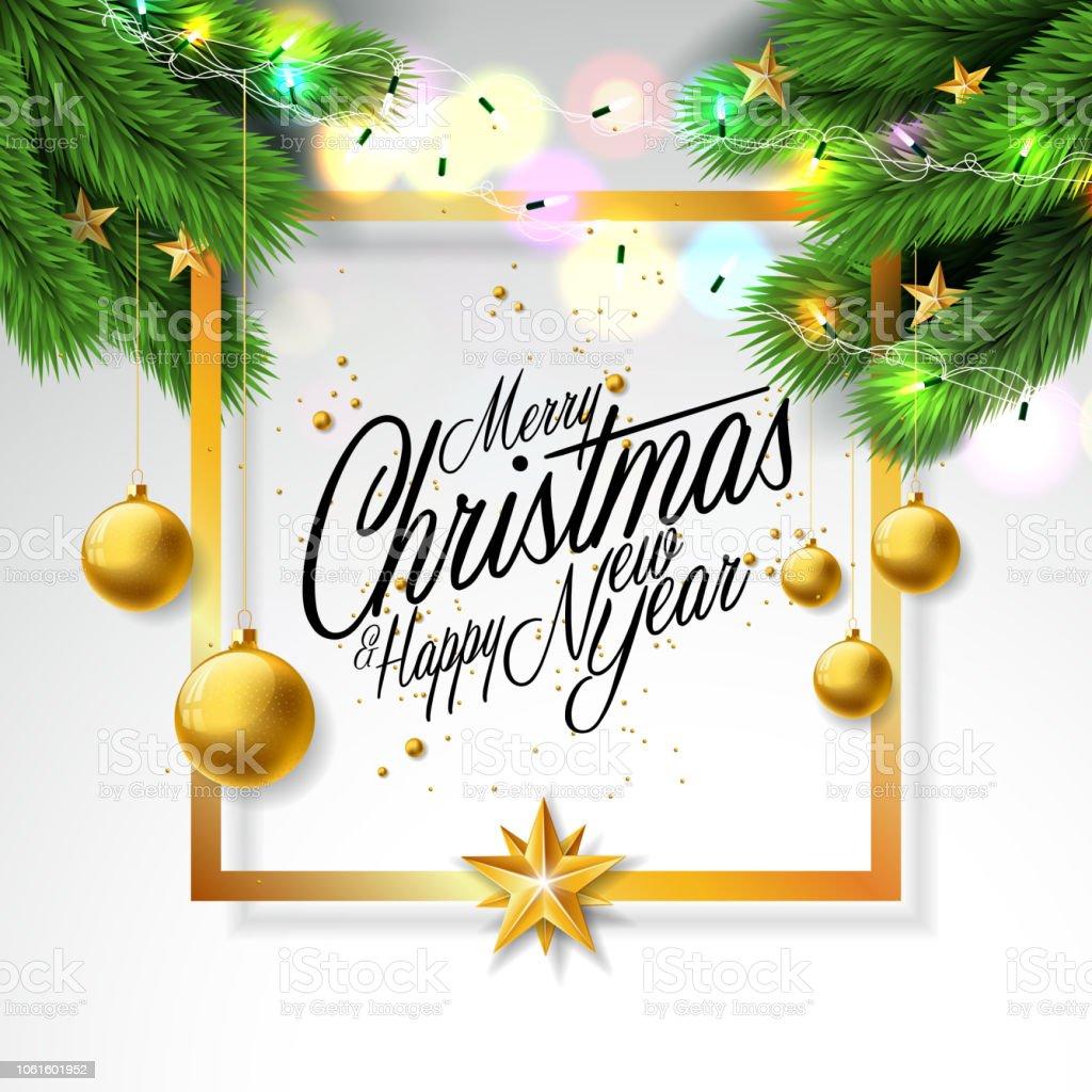 Frohe Weihnachten Illustration Auf Weißem Hintergrund Mit ...