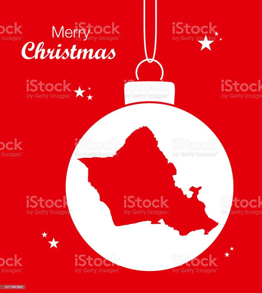 Frohe Weihnachten Hawaii.Frohe Weihnachten Abbildung Thema Mit Karte Von Honolulu Hawaii