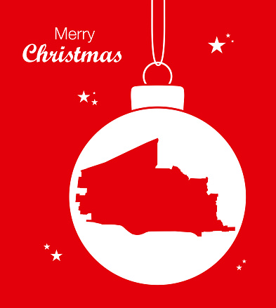 Merry Christmas illustration theme with map of Plano Texas