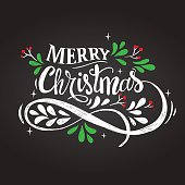 Merry Christmas hand drawn lettering vector illustration.