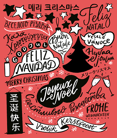 Merry Christmas in different languages. Greeting card design with hand lettering text, international winter holidays greetings. Red retro illustration with Cristmas tree. Feliz Navidad