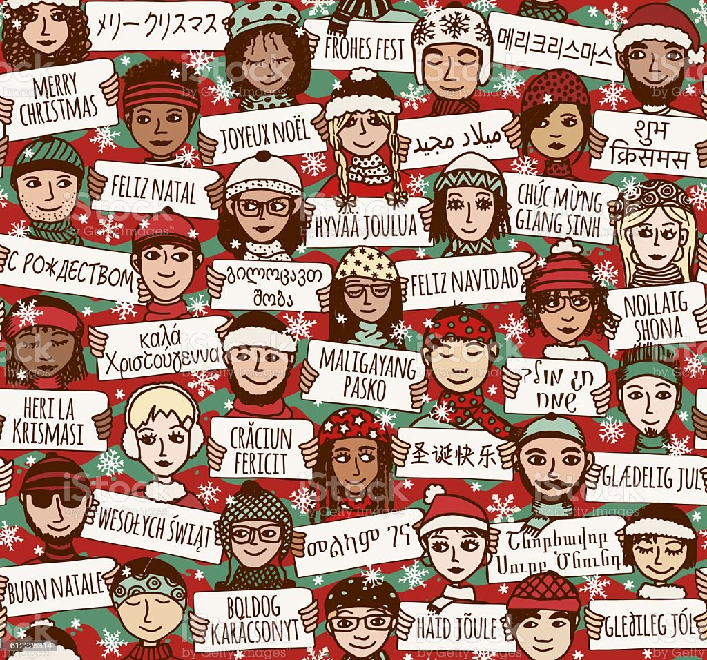 Merry Christmas in different languages vector art illustration