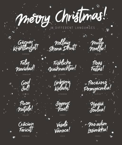 illustrazioni stock, clip art, cartoni animati e icone di tendenza di merry christmas in different languages - spagnolo lingua