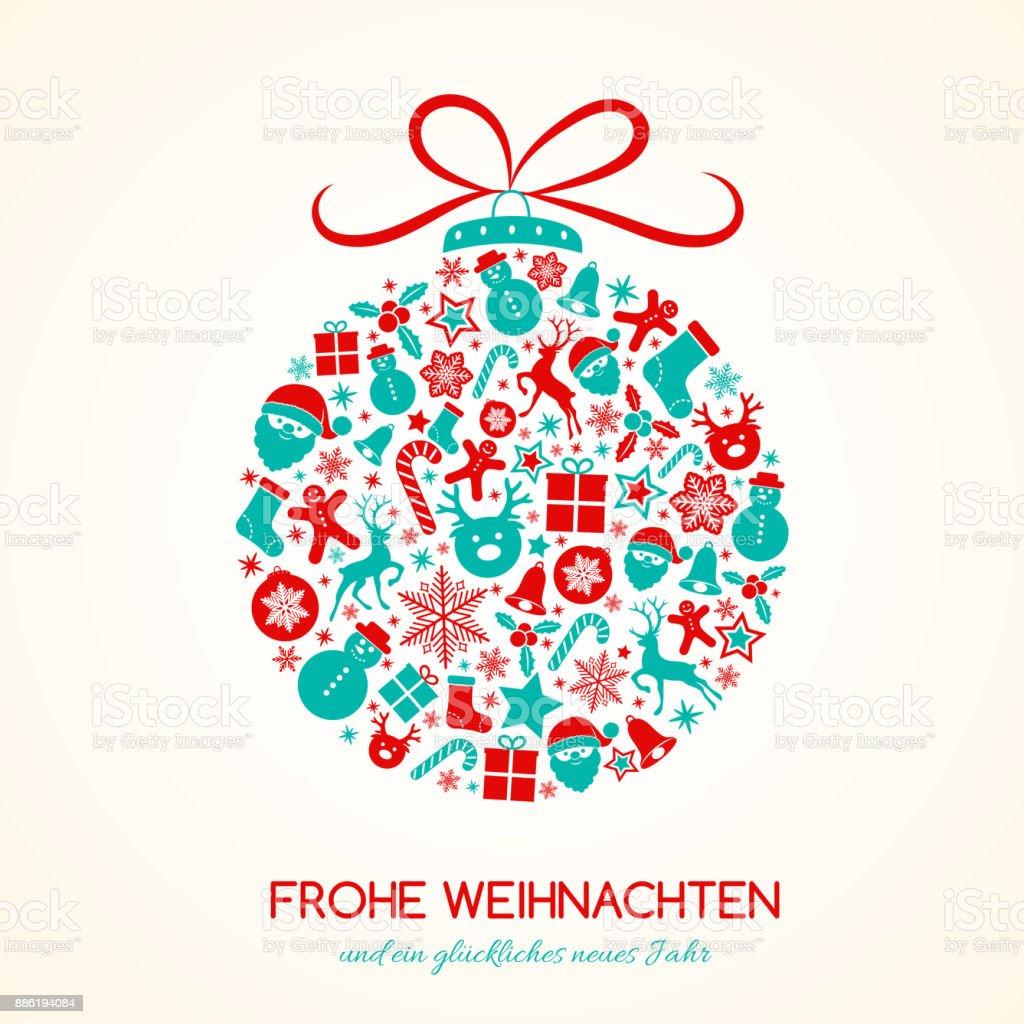 С Рождеством Христовым на немецком языке (Frohe Weihnachten) - концепция карты с украшением. Вектор. - Векторная графика Ёлочные игрушки роялти-фри