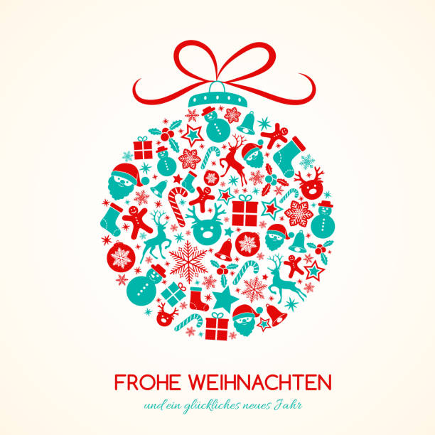Merry Christmas in German (Frohe Weihnachten) - concept of card with decoration. Vector. Merry Christmas in German (Frohe Weihnachten) - concept of card with decoration. Vector. weihnachten stock illustrations