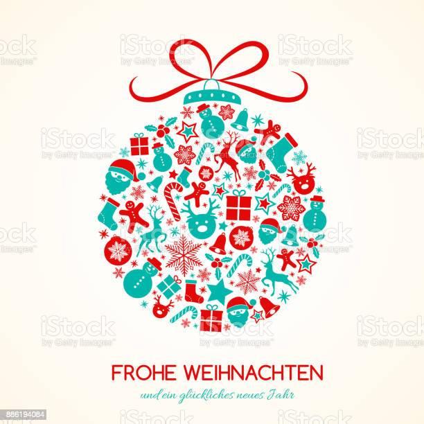 Almanca Dekorasyonu Ile Kart Kavramı Mutlu Noeller Vektör Stok Vektör Sanatı & Almanca'nin Daha Fazla Görseli