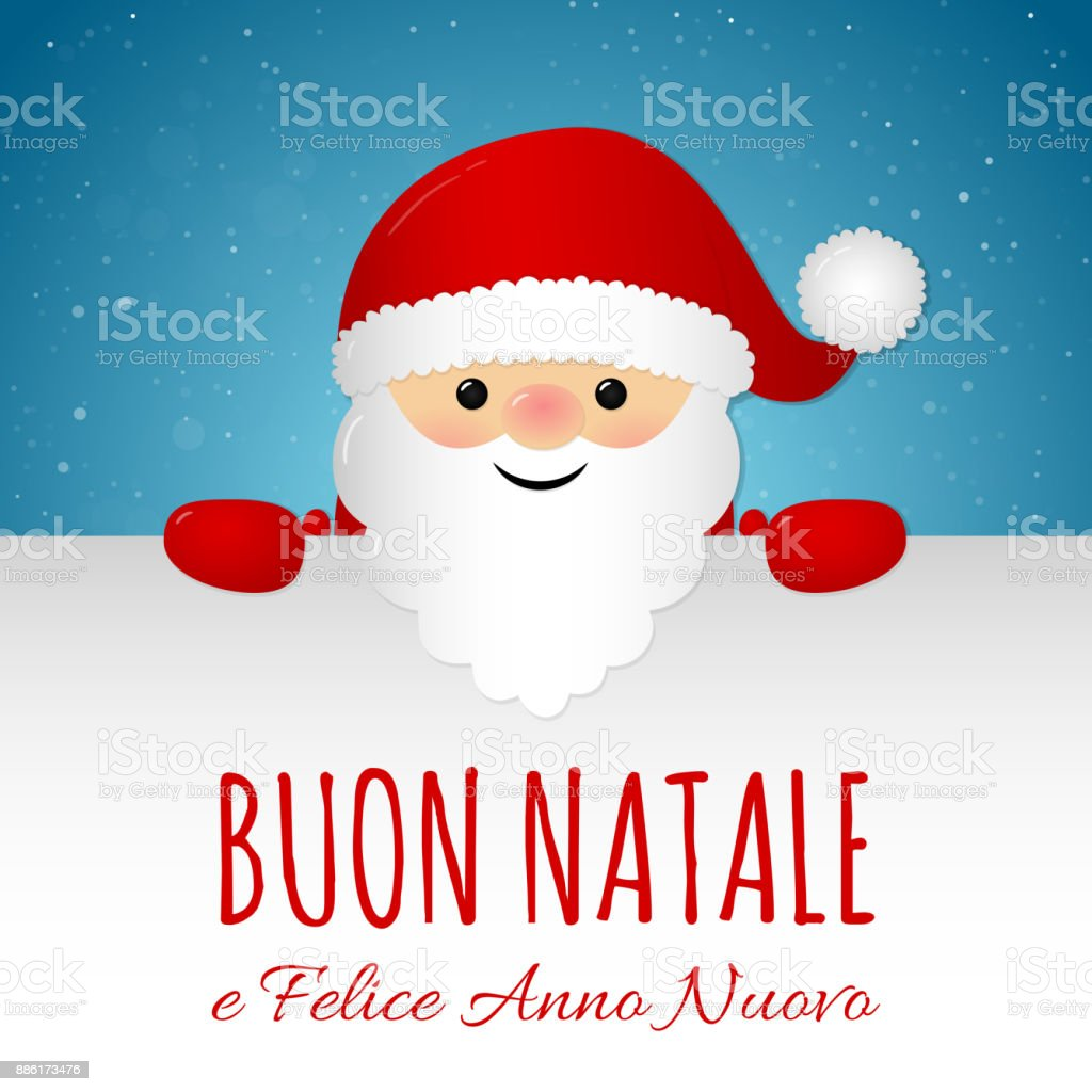 Merry Christmas In Italian Concept Of Card With Decoration Vector ...