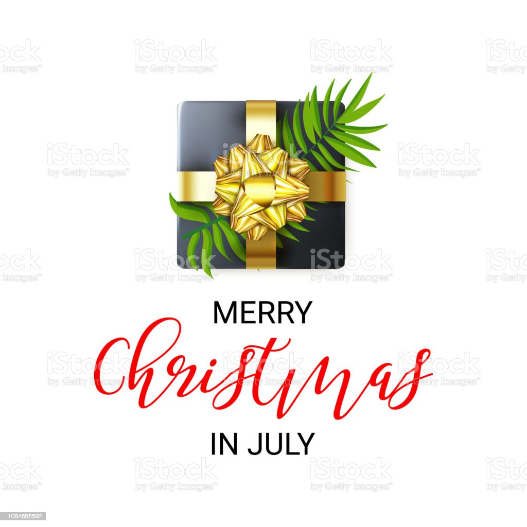 Happy Christmas In July Images.Merry Christmas In July Poster Decorated With Realistic Gift