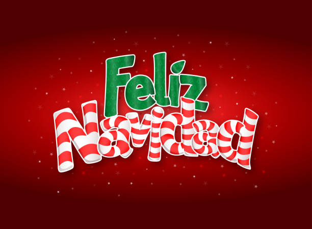 feliz navidad -merry christmas in spanish language- letters like candy bar, red cover of greeting card with stars in background. - alejomiranda stock illustrations