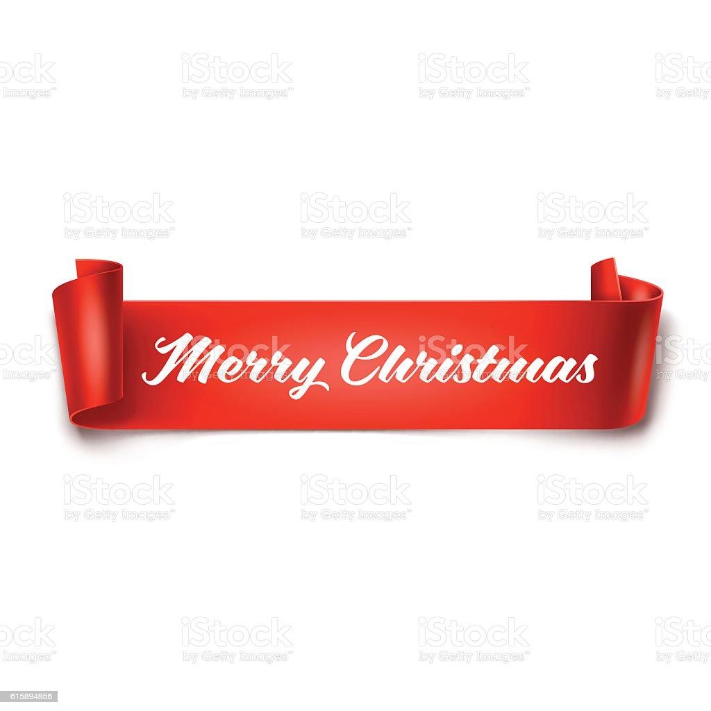 Merry Christmas inscription on red detailed curved ribbon – Vektorgrafik