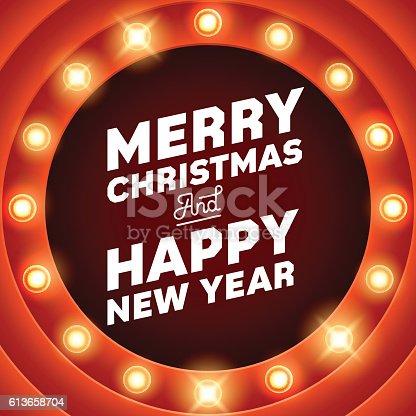 istock Merry Christmas inscription on retro banner with light bulbs 613658704