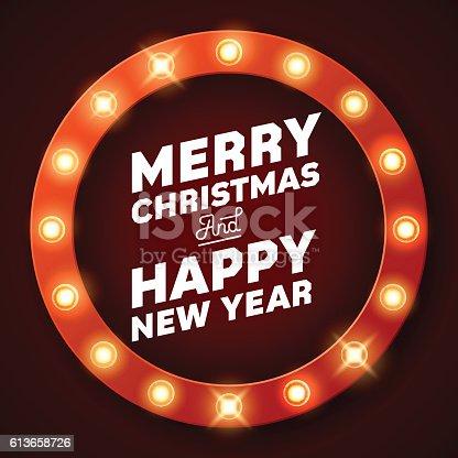 istock Merry Christmas inscription on retro banner with light bulbs 613658726