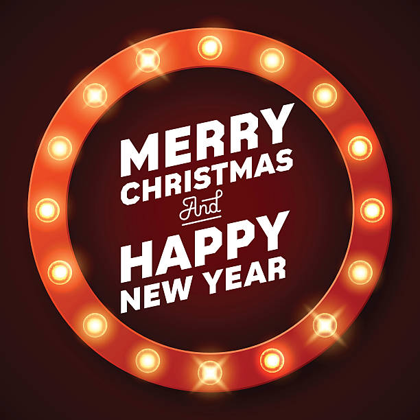 illustrazioni stock, clip art, cartoni animati e icone di tendenza di merry christmas inscription on retro banner with light bulbs - christmas movie