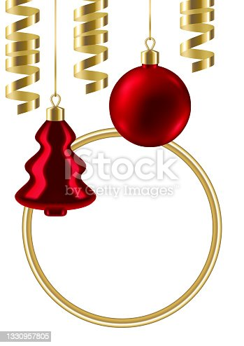 istock Merry Christmas invitation or greeting card with balls and serpentine. Happy New Year celebration. 1330957805