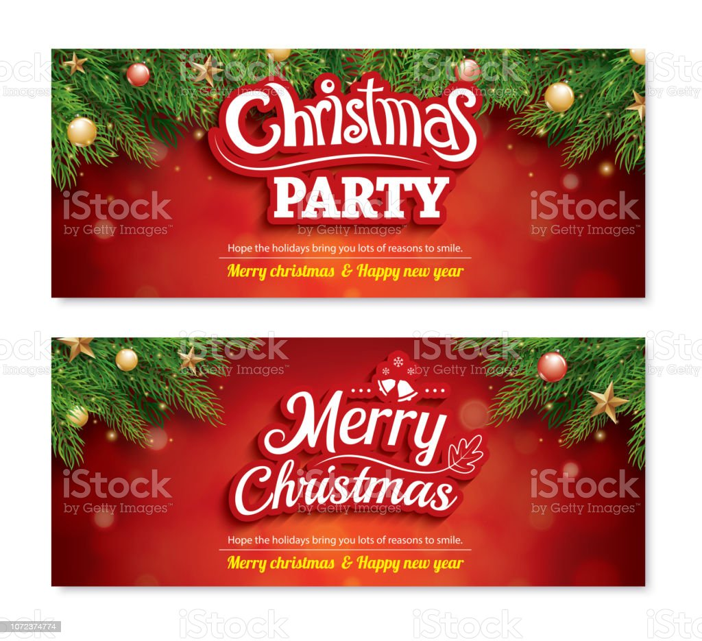 Merry Christmas Invitation Party Poster Banner And Greeting