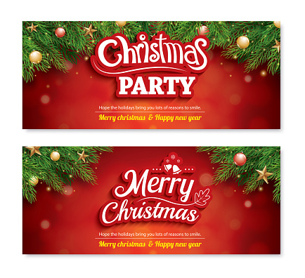 Merry christmas invitation party poster banner and greeting card design template on red background. Happy holiday and new year with gift box theme concept.