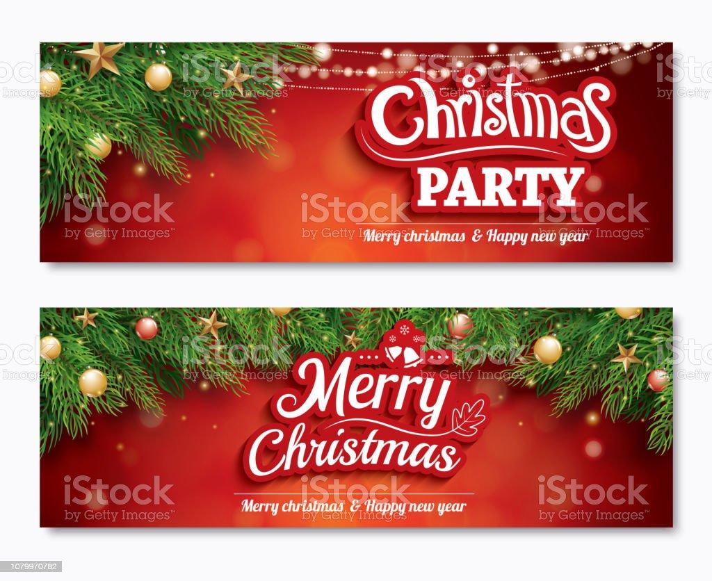 Ilustración De Feliz Navidad Invitación Fiesta Cartel Banner
