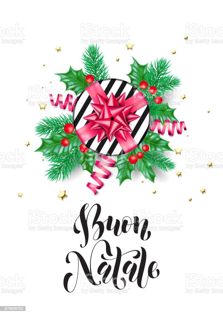 Frohe Weihnachten Italienisch Buon Natale Urlaub Handgezeichneten ...