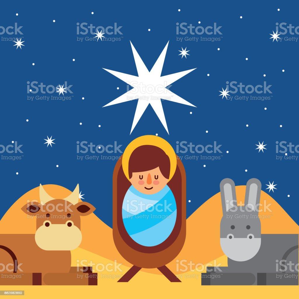Merry Christmas Jesus.Merry Christmas Jesus Christ Holy Blessed Stock Illustration