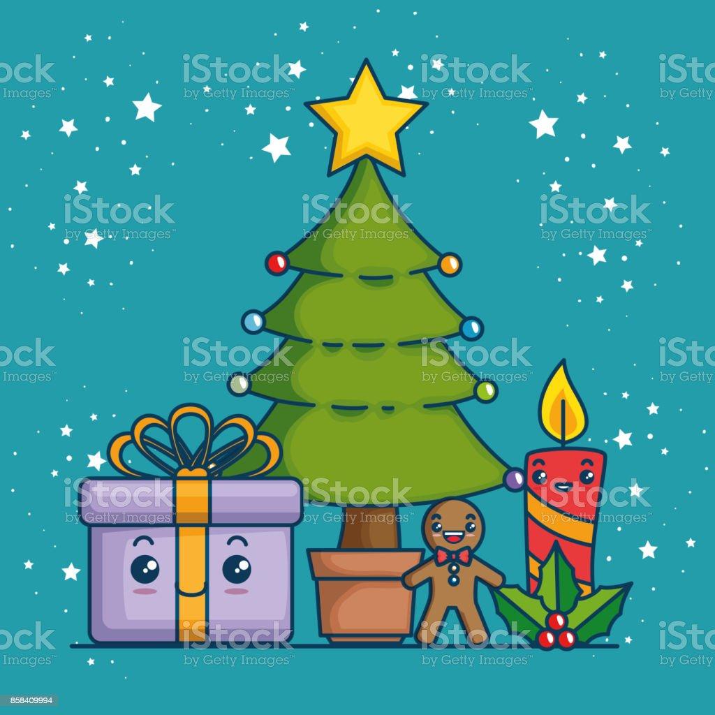 Foto Di Natale Neve Inverno 94.Merry Christmas Kawaii Concept Immagini Vettoriali Stock E Altre