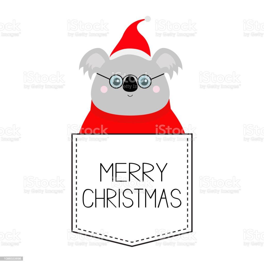 fe8d05539fc8a Ilustración de Feliz Navidad Cabeza De La Cara De Koala Rojo Santa ...
