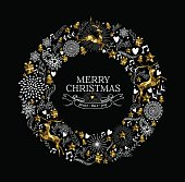 Merry christmas label wreath gold deer low poly
