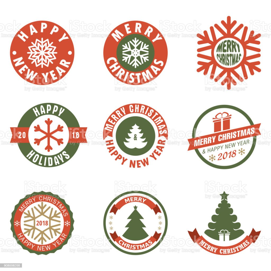 Merry Christmas Labels.Merry Christmas Labels Budges Stickers Vector Illustration