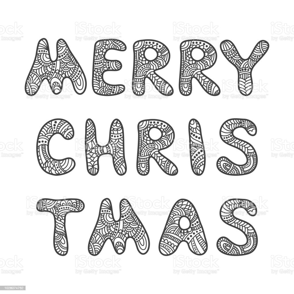 Merry Christmas Lettering Adult Coloring Book Stock Illustration