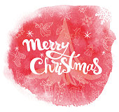"""Vector hand drawn watercolor stain with """"Merry christmas"""" inscription and christmas elements on it. All elements are on the separate layer und can be used separatly."""