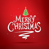 Merry Christmas lettering. Christmas greeting card.