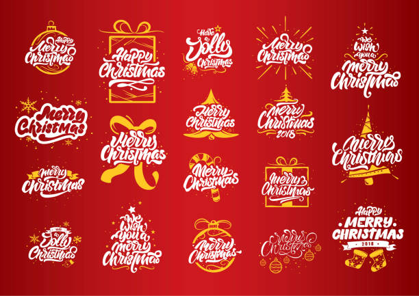merry christmas lettering designs. christmas tree yellow illustrations. merry christmas & happy new year typography. merry christmas lettering designs for postcard, poster, gift and t-shirt - christmas background stock illustrations