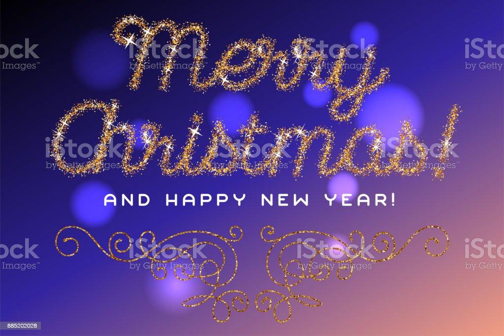 Frohe Weihnachten Glitzer.Frohe Weihnachten Schriftzug Gold Glitzer Schrift Stock Vektor Art