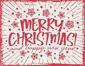 istock Merry Christmas lettering Greeting Card - red color 1290717208