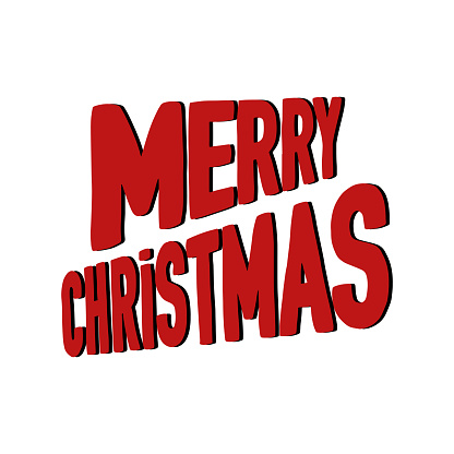 Merry Christmas lettering. Isolated text illustration on white background. Can be used for winter holidays designs, prints, cards, wrapping. Vector stock image.