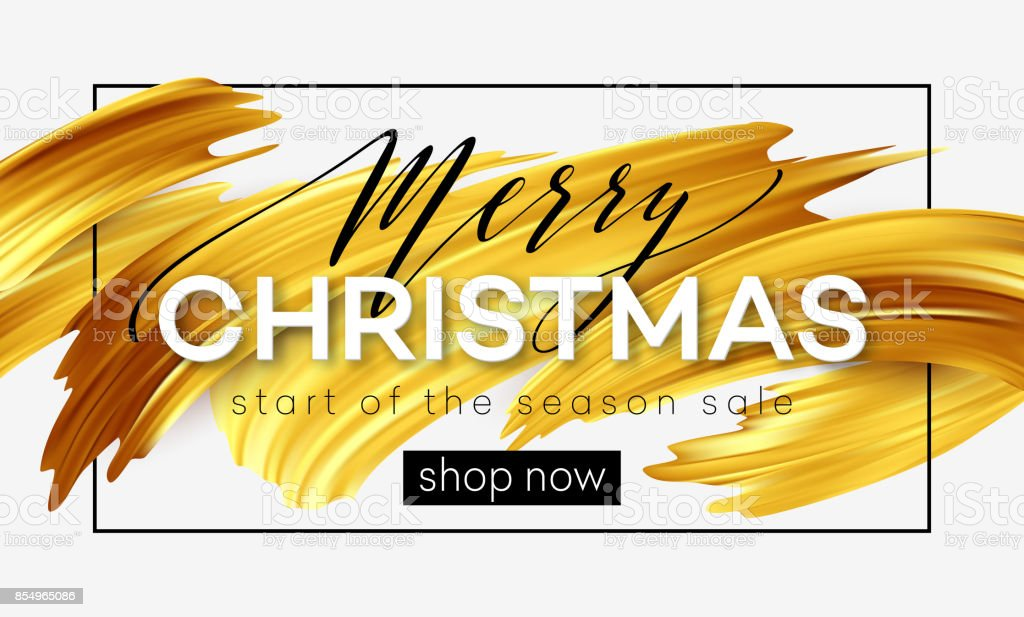 Merry Christmas lettering on a background of a gold brushstroke oil or acrylic paint. Sale design element for presentations, flyers, leaflets, postcards and posters. Vector illustration vector art illustration