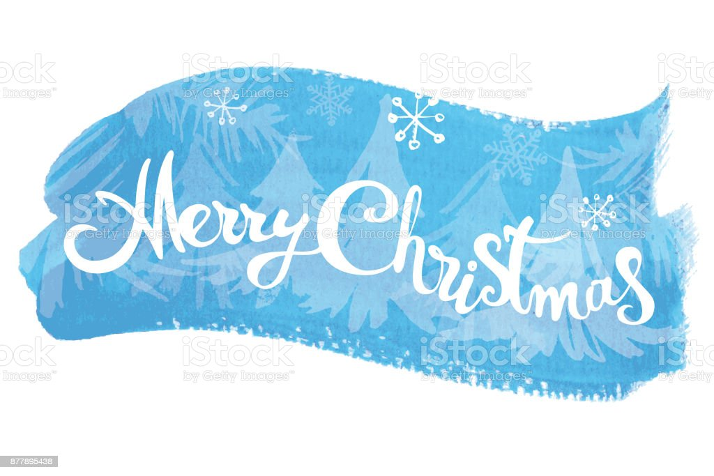 Merry Christmas lettering on abstract watercolor blue background vector art illustration