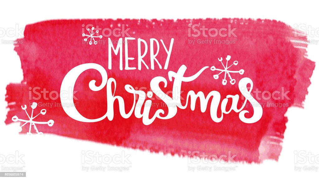 Merry Christmas lettering on abstract watercolor pink background vector art illustration
