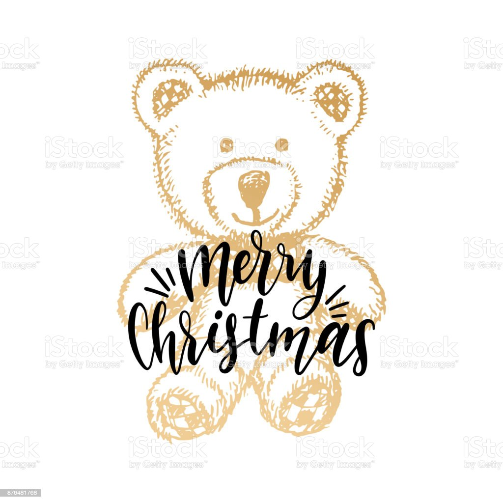 Merry Christmas Lettering On White Background Vector Hand Drawn ...