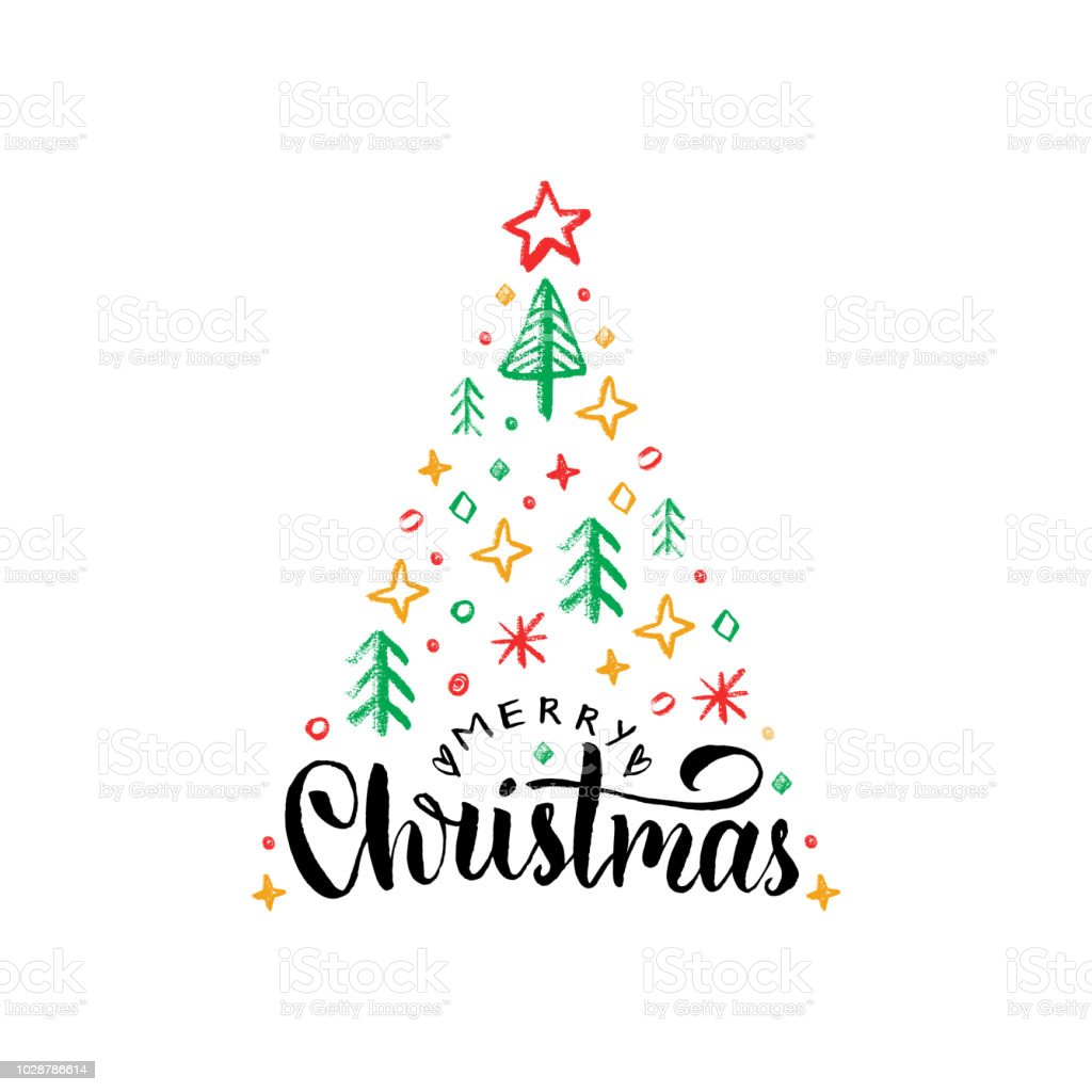 Merry Christmas Lettering On White Backgroundvector Hand Drawn ...