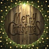 """Greeting card with """"Merry Christmas"""" lettering."""