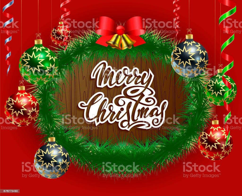 Frohe Weihnachten. Schriftzug. Realistische Weihnachtsspielwaren mit Serpentin, goldenen Glocken mit einer roten Schleife und grüne Fichte Zweige auf dem Hintergrund der Textur des Baumes. – Vektorgrafik