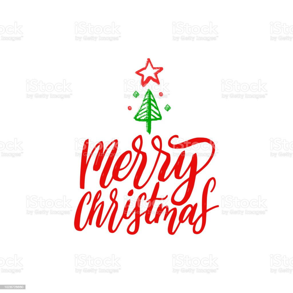 Merry Christmas Lettering Vector Hand Drawn New Year Illustration