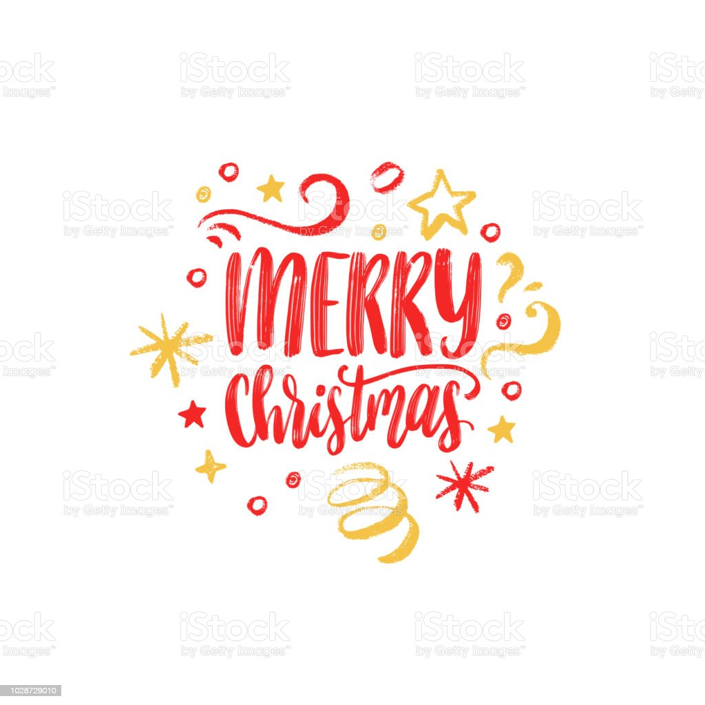 Merry Christmas Lettering Vector Hand Drawn New Year Illustration ...